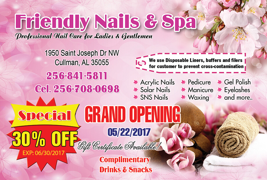 Promotions – Friendly Nails & Spa in Cullman – (256) 841-5811